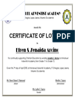 Certificate of Loyalty