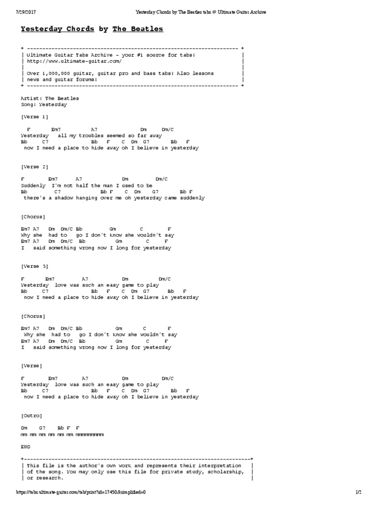 Yesterday Chords By The Beatles Tabs Ultimate Guitar Archive