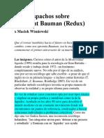 Tres Despachos Sobre Zygmunt Bauman_ Maciek Wisniewski