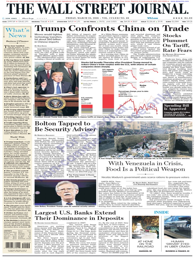 wallstreetjournal_20180323_TheWallStreetJournal | Donald Trump | United  States Government