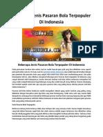 Beberapa Jenis Pasaran Bola Terpopuler Di Indonesia