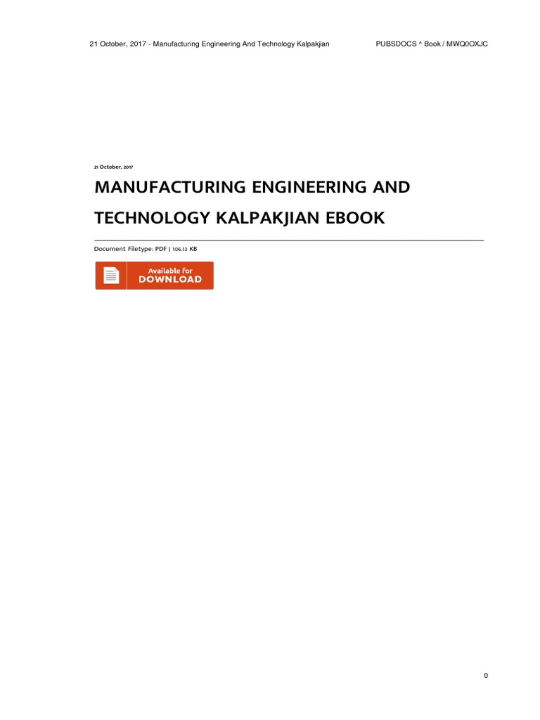 Manufacturing Engineering and Technology Kalpakjian Ma 3qalfwcv7h | Mechanical  Engineering | Engineering
