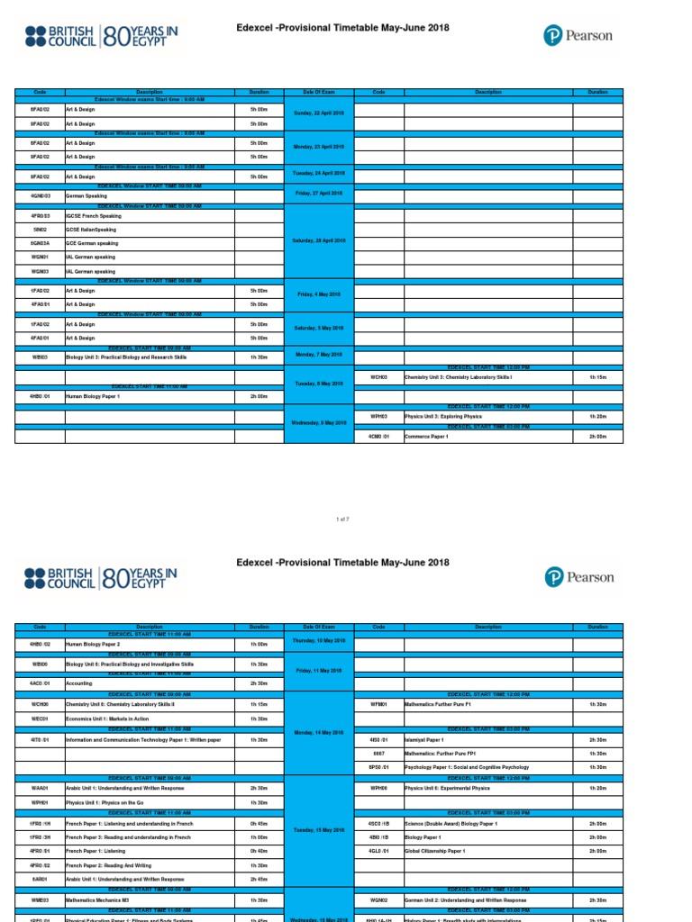 Pearson Provisional Timetable May June 2018   Sicología y