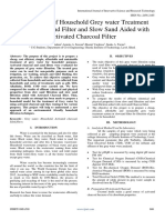 Comparision of Household Grey water Treatment using Slow Sand Filter and Slow Sand Aided with Activated Charcoal Filter