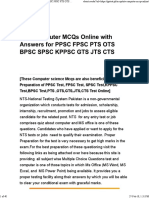 Nts Computer Mcqs Online With Answers for Ppsc Fpsc Pts Ots Bpsc Spsc Kppsc Gts Jts Cts