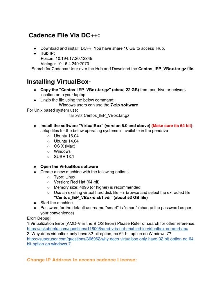 Installing VirtualBox Cadence (1)   Operating System   64