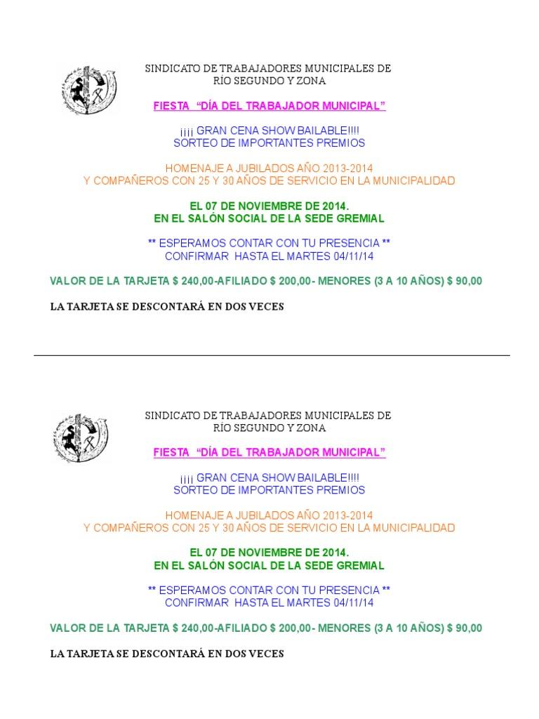 Tarjeta Invitación Fiesta Día Del Municipal