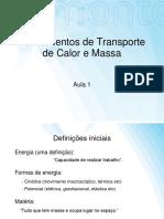 Fundamentos de transporte de calor e massa - Aula 1