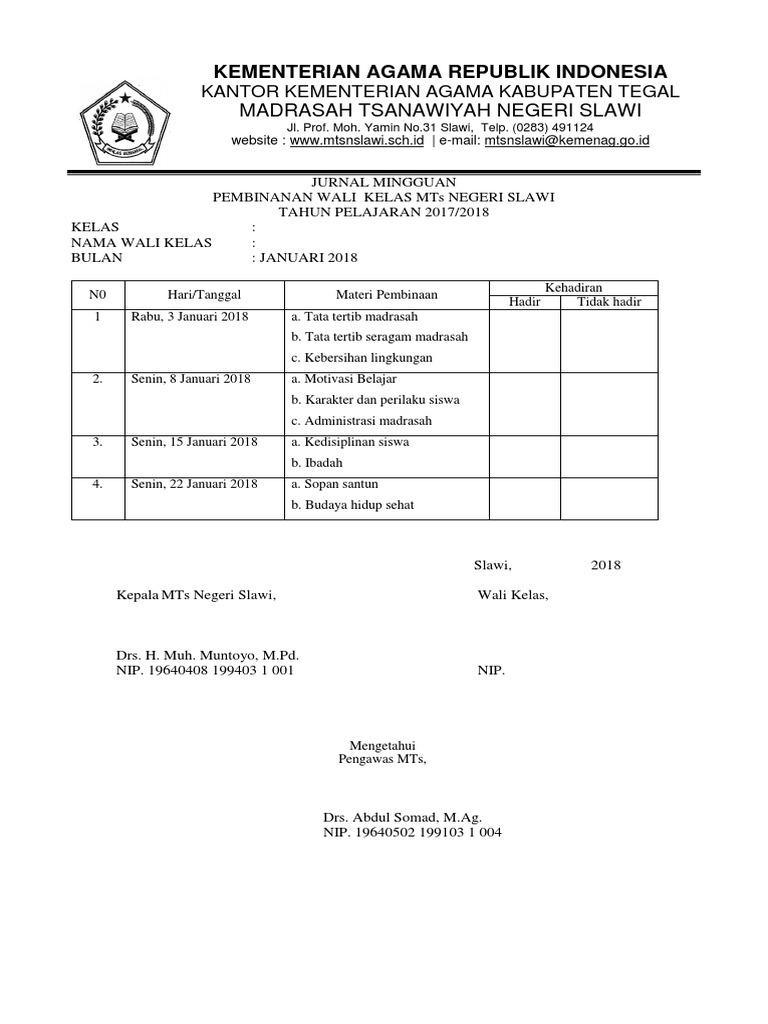 Jurnal Pembinaan Wali Kelas Mts Slawi Docx