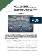 PRONUNCIAMIENTO DE LA COMUNIDAD INDÍGENA SIONA SOBRE EL ANUNCIO DEL PRESIDENTE LENIN MORENO DE RESPONDER POR LA VÍA MILITAR A LOS TERRIBLES ACONTECIMIENTOS CONTRA LOS TRES COMUNICADORES DEL DIARIO EL COMERCIO
