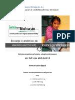 Síntesis Educativa Semanal de Michoacán al 16 de abril de 2018