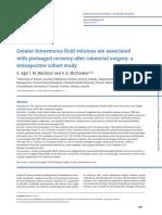 Management of IV fluids after colorectal surgery