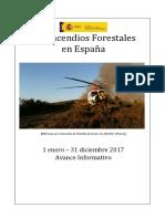 Avance Los incendios forestales en España 2017