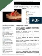 Hoja de Impresión de Brownie de Chocolate Con Mousse de Chocolate y Fresas