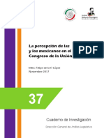 La opinión de los y las mexicana sobre el CONGRESO DE LA UNIÓN