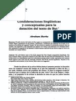 Consideraciones lingüísticas y conceptuales para la datación del texto de Rut