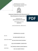 Anteproyecto Arquitectónico Para La Reconstrucción Del Palacio Municipal de La Ciudad de San Vicente ANABEL