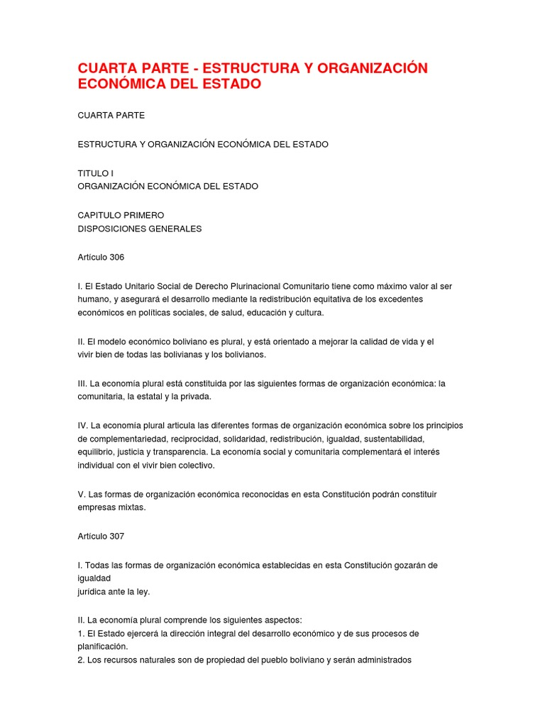 C P E Estructura Y Organizacion Del Estado Boliviano