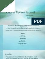 Critical Review Journal