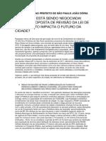 Carta Aberta Ao Prefeito de São Paulo João Dória