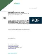 Carta Trámite de Visa para la China