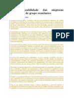 A Responsabilidade Das Empresas Integrantes de Grupo Economico