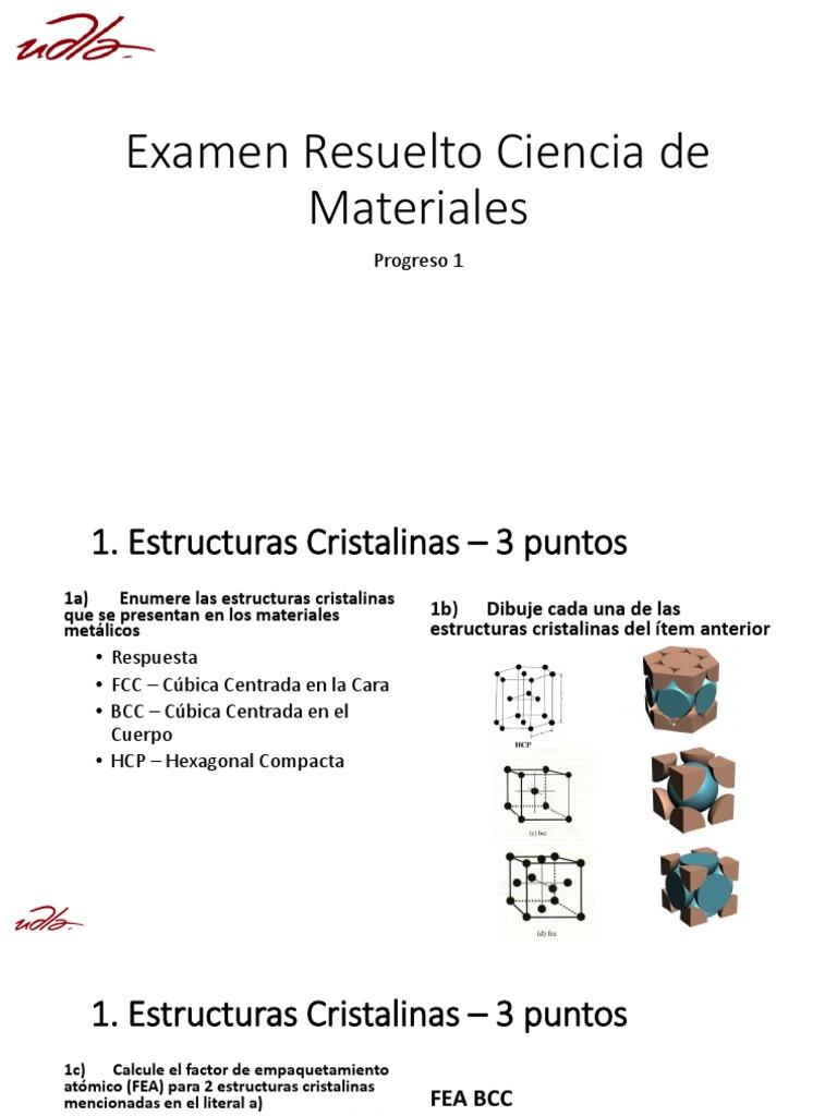 Corrección Examen Estructura Cristalina Física Aplicada
