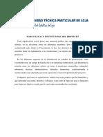 MARCO LEGAL E INSTITUCIONAL DEL PROYECTO