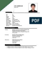 CV - Fabregar, Noel Christian M.