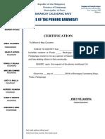 Barangay Certification Loan,Water & Electric Meter