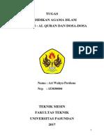 Ari Wahyu Perdana 153030004 Tugas Pai (Al-qur'an Dan Dosa-dosa