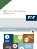 2016 Survey Results Leadership Development