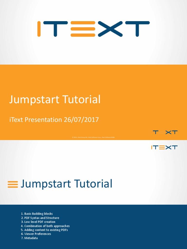 IText Jumpstart Tutorial   Portable Document Format   String