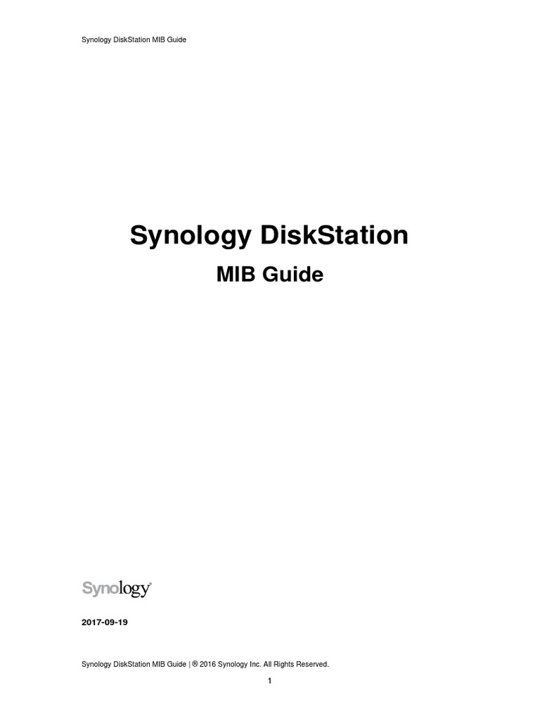 Synology DiskStation MIB Guide | Computer File | Computer Network