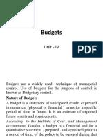 Unit- IV Budgets