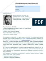 Listado de Presidentes Argentinos Entre 1880 y 1930