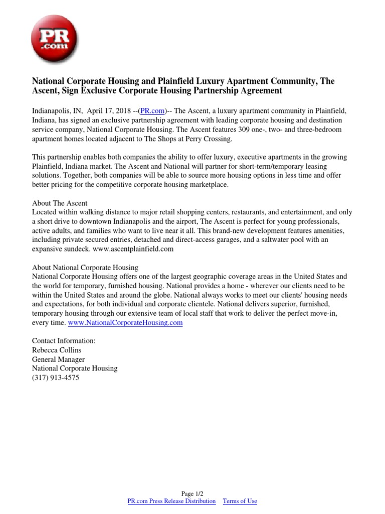 National Corporate Housing And Plainfield Luxury Apartment Community