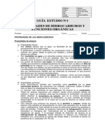 Guía 1 Estudio Propiedades Hidrocarburos y Funciones Orgánicas