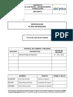 STVG BC ING M ES 030006 a Especificación Del Filtro Separador