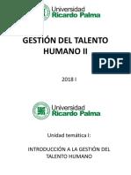 I Introducción a La Gestión Del Talento Humano
