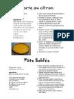 Recette Tarte Au Citron Et Pate Sablée