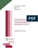 Maquiavelo en El Siglo XX. Lecturas Contemporáneas de La Modernidad Política