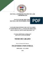 Analisis Ergonomicos de Los Talleres Automotrices