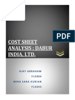 cost Analysis Sheet Dabur