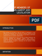 Freedom of Members of Parliament and Legislation