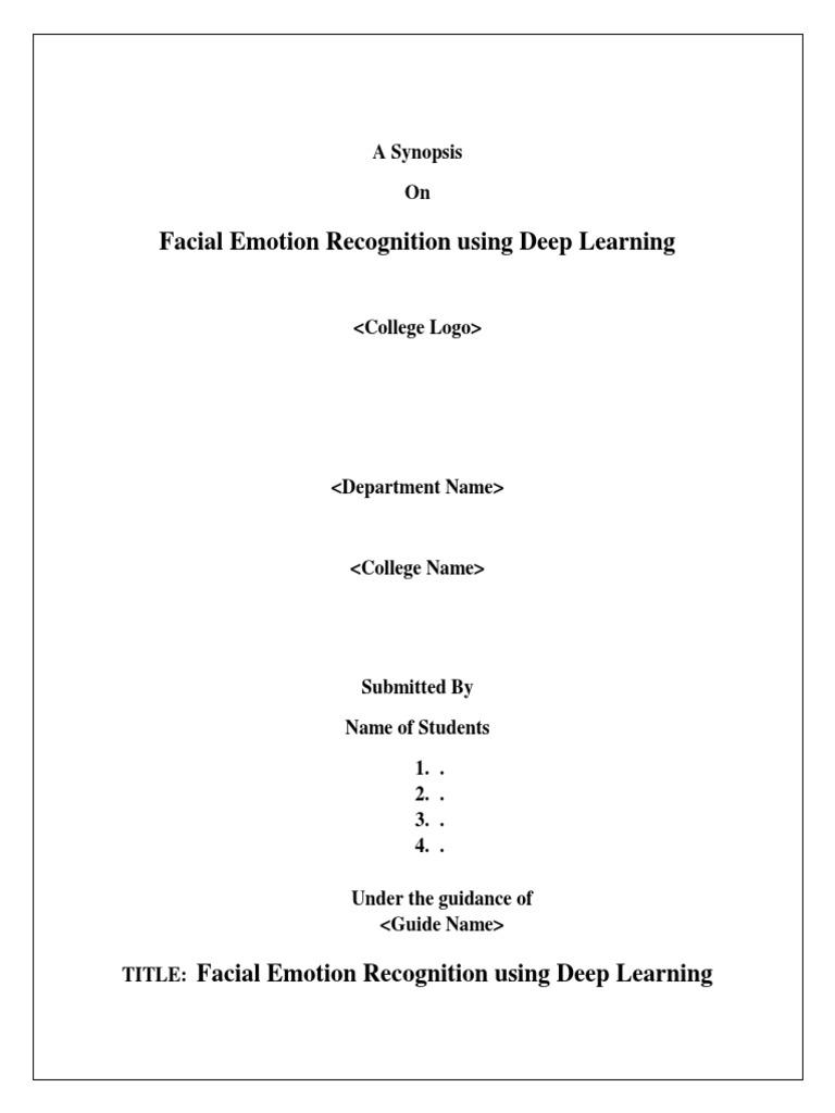 Synopsis Facial Expression Recognition   Facial Expression   Deep