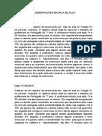 32620968 Relatorio Das Observacoes Em Sala de Aula
