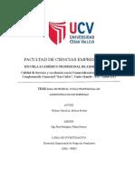 """Calidad de Servicio y su relación con la Comercialización de Muebles en el Conglomerado Comercial """"San Carlos"""", Canto Grande - SJL - Lima-2013"""
