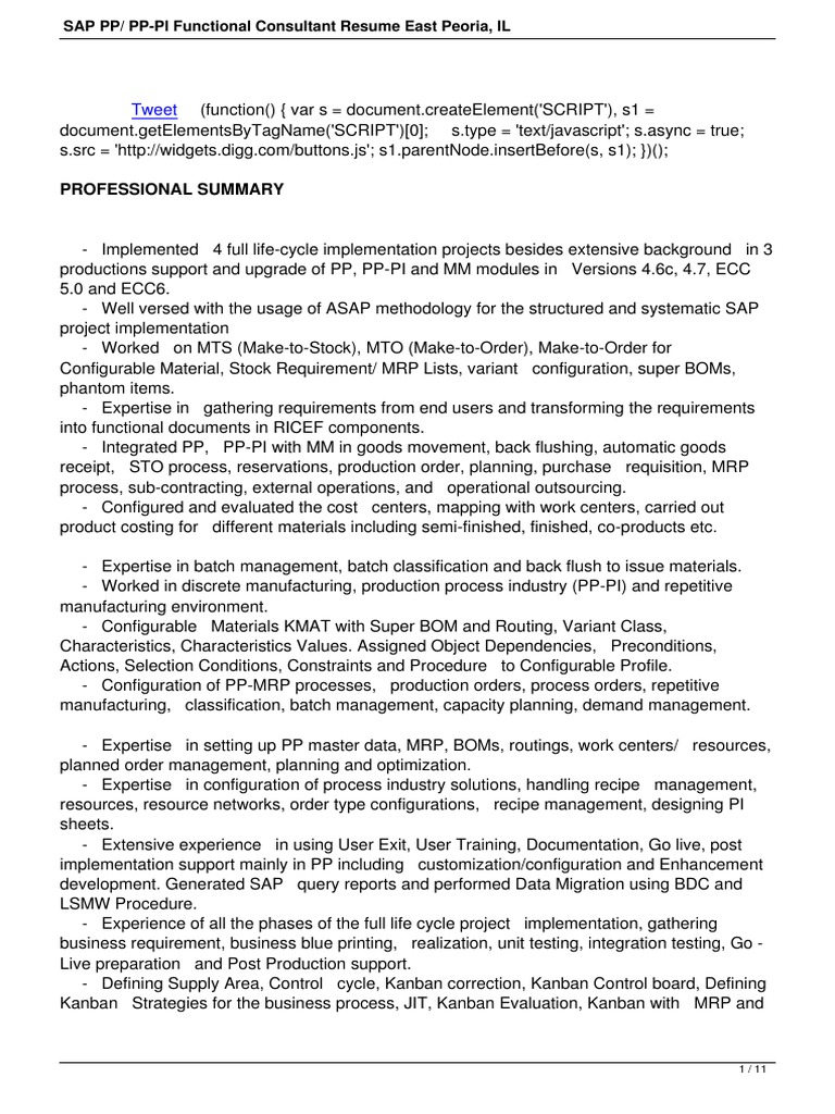 Sap Pp Pp Pi Functional Consultant Resume East Peoria Il   Business ...
