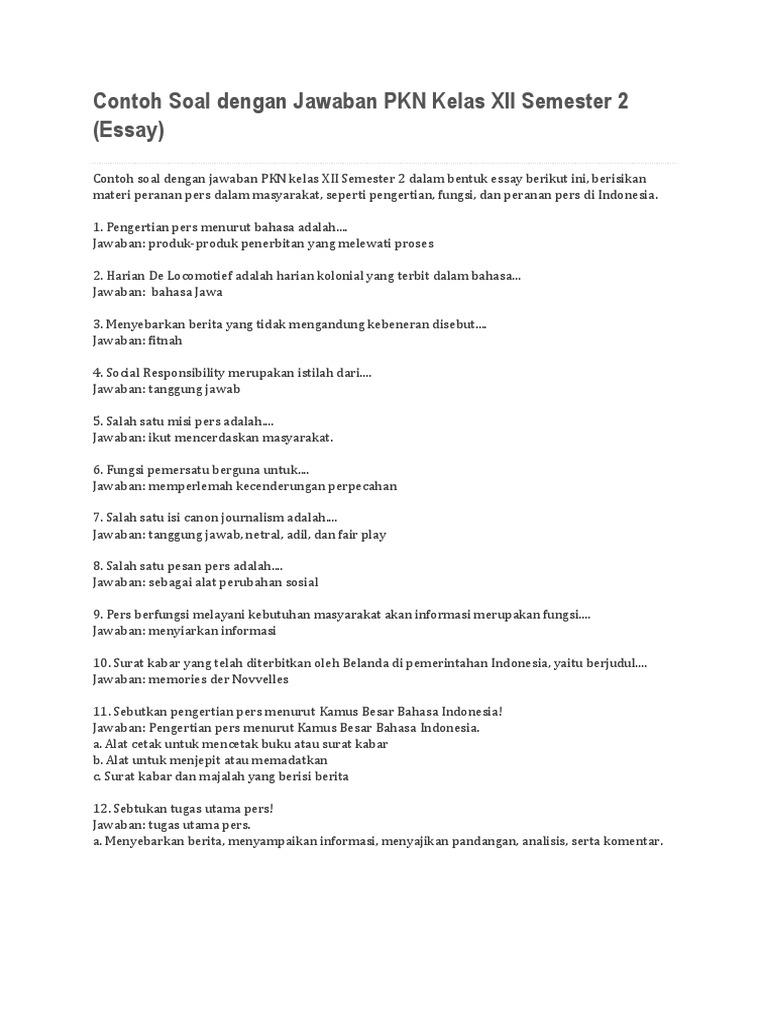 soal dan jawaban essay pkn tentang pers